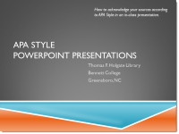 APA Style PowerPoint Presentations